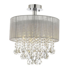 "Silver and Crystal 15""W Ceiling Light Chandelier Flush Mount"