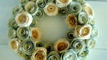 Coffee Dyed Paper Flower Wreath