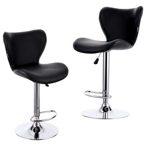 Modern 2-Bar Stool Upholstered, PU Leather With Footrest, Black