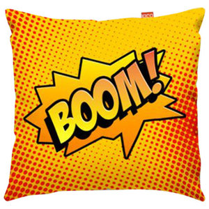 Comic Boom Orange Sofa Cushion, Large, 80x80 cm, Regular