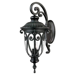 """27"""" Tall Black Outdoor Wall Mount-Light, Hand-Blown Clear Seeded Glass"""