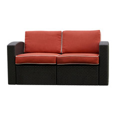 Cielo Patio Loveseat Brown With Cajun Red Fabric
