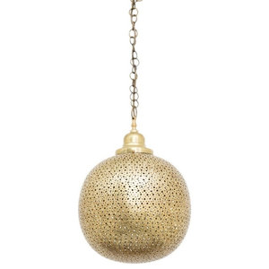 Sama Brass Moroccan Punched Pendant, 30 x 30 x 44cm
