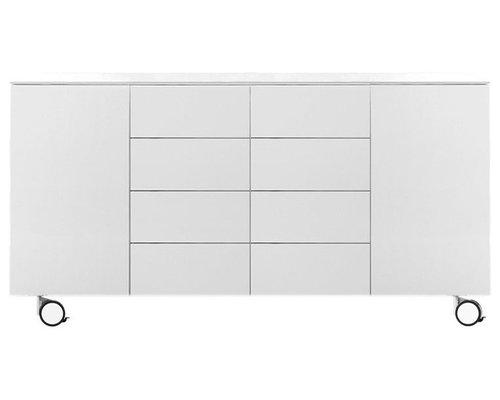 Arctic 40 Sideboard 2D & 8L, Vit/Hjul - Opbevaringsskabe