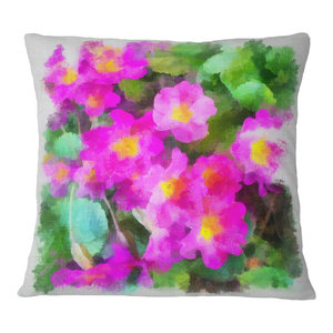 Designart Cu13552 20 20 C Pink Flower With Stem And Leaves Floral Round Cushion Cover For Living Room Sofa Throw Pillow 20 Home Kitchen Throw Pillow Covers