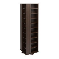 Large 4-Sided Spinning Tower Cabinet, Espresso Finish