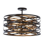 Minka-Lavery 4671-111 5 Light Semi Flush Mount Flow Dark Bronze Mosaic Gold