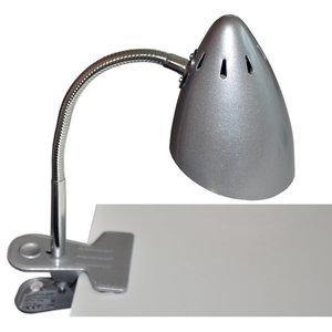 Clip-On Retro Desk Lamp, Metallic Silver