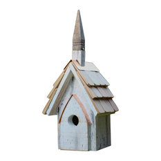 Classic Chapel Bird House, Crackle White Finish