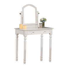 Camilla Wooden Vanity Table and Mirror, White