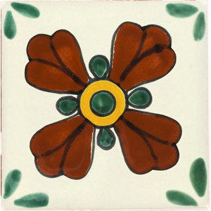 Handmade Tierra y Fuego Ceramic Tile, Green Seville 2, Set of 9