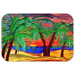 "Mary Gifts By The Beach - Sun Set Fire Plush Bath Mat, 20""x15"" - Bath mats from my original art and designs. Super soft plush fabric with a non skid backing. Eco friendly water base dyes that will not fade or alter the texture of the fabric. Washable 100 % polyester and mold resistant. Great for the bath room or anywhere in the home. At 1/2 inch thick our mats are softer and more plush than the typical comfort mats.Your toes will love you."