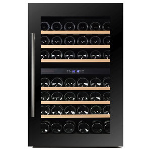 Dunavox 42 Bottle Fully Integrated Dual Zone Wine Fridge, Stainless Steel