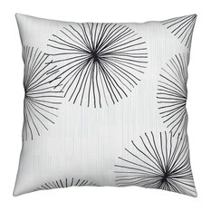 Dandelion White Black Minimalist Mod Circle Throw Pillow Cover Organic Sateen