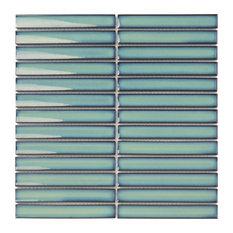 "Glazed Porcelain Mosaic  Sevilla 6""x1"" Glossy Ocean Green, Set of 10 Sheets"