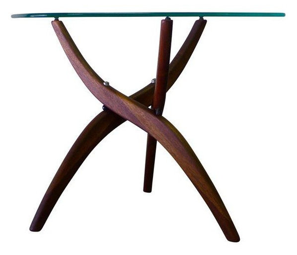 consigned rosewood/glass mid century modern coffee table forest