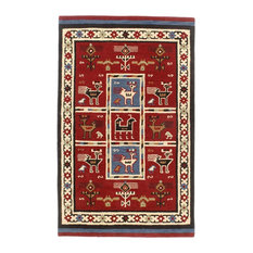 St. Croix Traditions Tribal 6' Round Red Rug