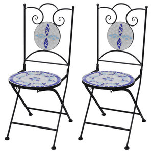 VidaXL Mosaic Bistro Chairs, Blue and White, Set of 2