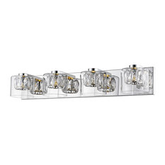 Private Collection Crystal Vanity, Mirrored Steel Finish, Glass Shade, 4-Light
