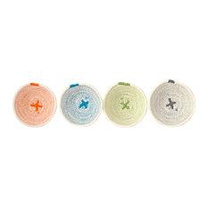 Mini Cotton Rope Bowls, Mixed Colours, Set of 4