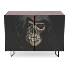 "Society6 - Society6 Credenza, Walnut, Steel, 30"", 'Death' By Therealpaparaw - Buffets and Sideboards"