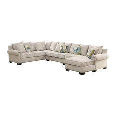 Bowery Hill   Bowery Hill Fabric Sectional, Ivory   Sectional Sofas