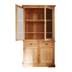 Boston Teak 4-Door Display Cabinet, 2 Drawers