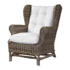 Padmas plantation - Padmas Plantation Wing Chair, Kubu,With White Cushion - Armchairs and Accent Chairs