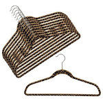 """OnlyHangers - Slim-Line Printed """"Cheetah"""" Shirt or Pant Hanger, Set of 20 - Keep your clothing looking freshly laundered and pressed with these wonderful closet additions in wild """"Cheetah"""" print. This hangers sturdy construction helps preserve the shape of your clothes and keeps you looking professional around the clock. Prevent clothes from slipping with the soft, velvety surface of these useful hangers. Chrome tone hooks complement their attractive design. Their lightweight and ultra-thin design - just 1/4"""" wide - holds heavy winter coats as easily as spaghetti-strapped gowns."""