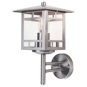 Modern Outdoor Wall Lantern, Stainless Steel