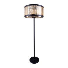 1203 Chelsea Collection Floor Lamp, Mocha Brown, Golden Teak/Smoky
