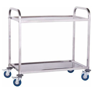 Modern Serving Trolley Cart, Stainless Steel With 2 Open Shelves, Blue Wheels