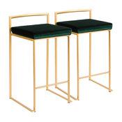 LumiSource Fuji Counter Stool Set of 2, Green, Gold Frame