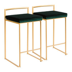 LumiSource Fuji Counter Stool Set of 2, Green, Gold Frame