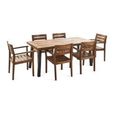 GDFStudio   Avalon Outdoor 7 Piece Teak Finish Acacia Wood Dining Set   Outdoor  Dining