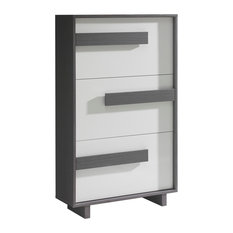 Lines 3-Drawer Shoe Cabinet, Ash and White