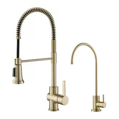 KRAUS Britt Kitchen Faucet With Filter Faucet, Brushed Gold