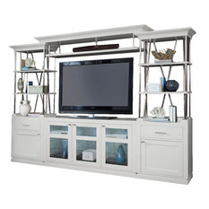 Parker House - Parker House Skyline 4-Piece Entertainment Wall, Cottage White - Entertainment Centers and Tv Stands