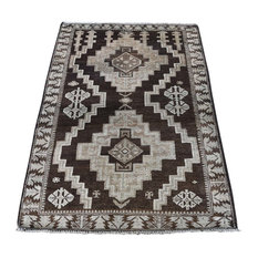 """Vintage Afghan Baluch Undyed Natural Color Hand-Knotted Pure Wool Rug, 2'9""""x4'5"""""""