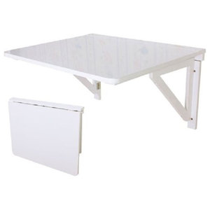 Folding Wall-Mounted Table in White Painted MDF Drop-Leaf Style for Space Saving