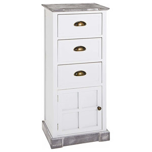 Hallway Cabinet in Solid Wood with 3 Drawer and 1 Door, White Washed Finish