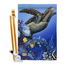 Flight of the Sea Turtle Nature Wildlife House Flag Set