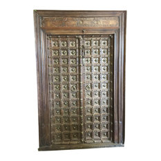 Mogul Interior - Antique Doors India Unique Hand Carved brass Knobs Haveli Door & Frame - Interior Doors