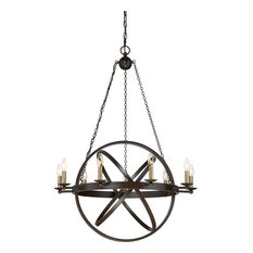 Eons Western Bronze Finish, Chandelier With 9 Lights