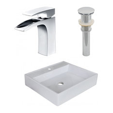 """Above Counter Vessel Set for 1-Hole Center Faucet, White, 17"""""""