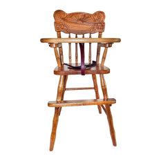 Amish Hardwood High Chair OAK SUNRISE Slide Tray, Almost Natural Oak Stain