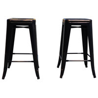 Industrial Metal Stackable Kitchen Dining Bar Stools, Antique Copper, Set of 2