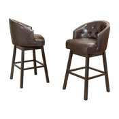 GDF Studio Westman Brown Leather Swivel Backed Bar Stools, Set of 2