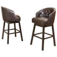 GDF Studio Westman Brown Leather Swivel Backed Bar Stools, Set of 2