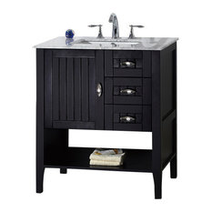 """30"""" Single Sink Vanity, Espresso With Marble Top, White"""